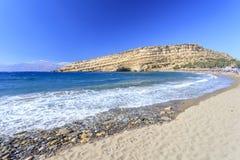 Пляж Matala на острове Крита Греция Стоковое Фото