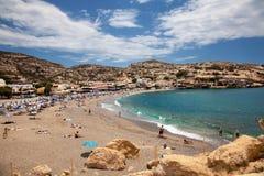 Пляж Matala, остров Крита, Греция Стоковое Изображение RF
