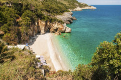 Пляж Mylopotamos, Pelio, Греция стоковое изображение rf