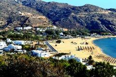 Пляж Mylopotas в Ios, Греции Стоковые Изображения RF