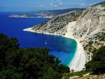 Пляж Myrtos, Kefalonia Греция Стоковая Фотография