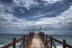 Пляж Nagueles понтона в Марбелье Стоковые Фотографии RF