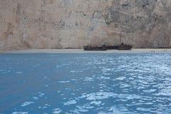 Пляж Navagio или пляж кораблекрушением, Закинф, Греция Стоковое Изображение