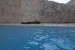 Пляж Navagio или пляж кораблекрушением, Закинф, Греция Стоковое фото RF