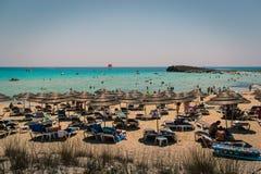 Пляж Nissi, Кипр Стоковая Фотография