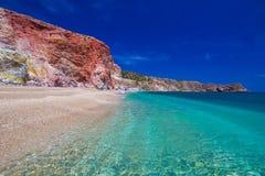Пляж Paliochori, остров Milos, грек Киклады, эгейские, Греция, Европа Стоковое Изображение RF