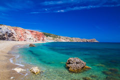 Пляж Paliochori, Milos остров, Киклады, эгейские, Греция Стоковая Фотография