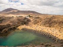 Пляж Papagayo, Лансароте, Канарские острова Стоковые Фото
