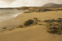 Пляж Papagayo на Лансароте, архипелаге Канарских островов Стоковые Изображения RF