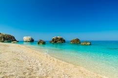 Пляж Petra Megali, остров лефкас, Levkas, Lefkas, Ionian море, Стоковые Фото