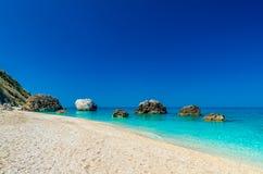 Пляж Petra Megali, остров лефкас, Levkas, Lefkas, Ionian море, Стоковая Фотография
