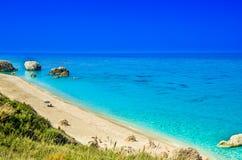 Пляж Petra Megali, остров лефкас, Levkas, Lefkas, Ionian море, Стоковые Изображения RF