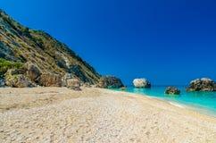 Пляж Petra Megali, остров лефкас, Levkas, Lefkas, Ionian море, Стоковое фото RF