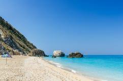 Пляж Petra Megali, остров лефкас, Levkas, Lefkas, Ionian море, Стоковое Фото