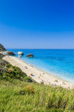 Пляж Petra Megali, остров лефкас, Levkas, Lefkas, Ionian море, Стоковое Изображение