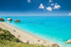 Пляж Petra Megali, остров лефкас, Levkas, Lefkas, Ionian море, Стоковые Изображения