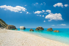 Пляж Petra Megali, остров лефкас, Levkas, Lefkas, Ionian море, Стоковое Изображение RF