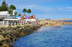 Пляж Playa de Maspalomas в Maspalomas, Gran Canaria, Испании Стоковые Фото