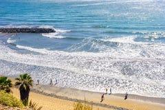 Пляж Playa del Ingles Maspalomas, Gran Canaria, Канарские островы Стоковые Фотографии RF