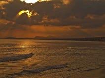 Пляж Rethymno в раннем утре Стоковая Фотография