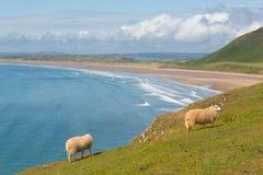 Пляж Rhossili Gower Уэльс Великобритания Стоковая Фотография RF