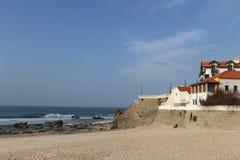 Пляж São Педра de Moel, океана Portuga Athlantic Стоковое Фото