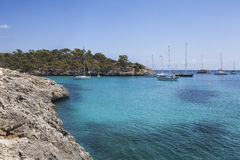 Пляж S'Amarador в Мальорке Стоковые Изображения RF