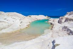 Пляж Sarakiniko, остров Milos, грек Киклады, эгейские, Греция, Европа Стоковое Изображение RF