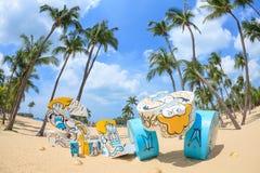 Пляж Siloso в острове Sentosa, СИНГАПУРЕ - 26-ое марта стоковая фотография