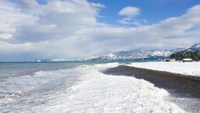 Пляж Snowy Батуми, Georgia Стоковые Изображения