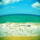Пляж Sotavento в Фуэртевентуре, Канарских островах, Испании Стоковое Изображение RF