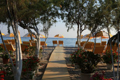 Пляж Tigaki, Греция Стоковое Фото