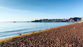 Пляж Torbay Девон Англия Paignton около Торки и Brixham стоковое изображение