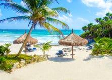 Пляж Tulum на Penisula Юкатане в Мексике Стоковое Фото