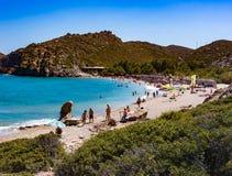 Пляж Vai на солнечный день Стоковое Изображение RF