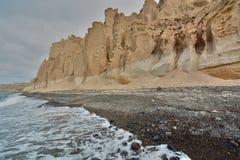 Пляж Vlychada Santorini, острова Кикладов Греция Стоковые Фотографии RF