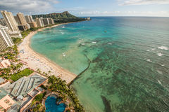 Пляж Waikiki в Гаваи Стоковая Фотография