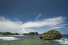 Пляж Watu Karung, Pacitan, Ява, Индонезия Стоковые Фото