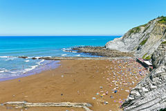 Пляж Zumaia, Gipuzkoa, Баскония Испания Стоковое Изображение