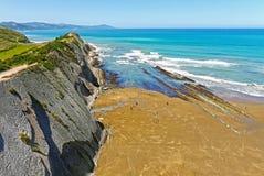 Пляж Zumaia, Gipuzkoa, Баскония Испания Стоковая Фотография RF