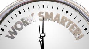 Работайте более умные часы сохраньте иллюстрацию слов 3d эффективности времени Стоковая Фотография