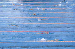 Работать детей плавая в бассейне Стоковые Фотографии RF