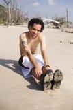 работать пляжа Стоковые Изображения RF