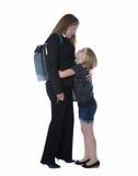 Работающая мама приветствована ее молодой дочерью Стоковые Изображения