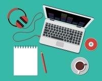 Работающ или изучающ концепция Плоский стиль Стоковые Фото