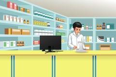 Работая аптекарь на иллюстрации фармации иллюстрация вектора