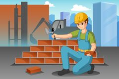 Работая иллюстрация рабочий-строителя иллюстрация штока