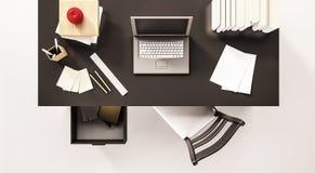 Работая космос стола, взгляд сверху, с компьтер-книжкой компьютера, обработка документов, книги, стул, раскрыл ящик, яблоко и etc бесплатная иллюстрация