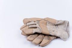 Работая перчатки для защиты над белизной Стоковые Изображения