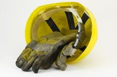 работа безопасности шлема перчаток Стоковая Фотография